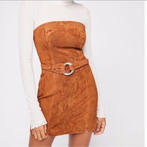 FREE PEOPLE Strapless Luxe Suede Mini Dress Belt 8